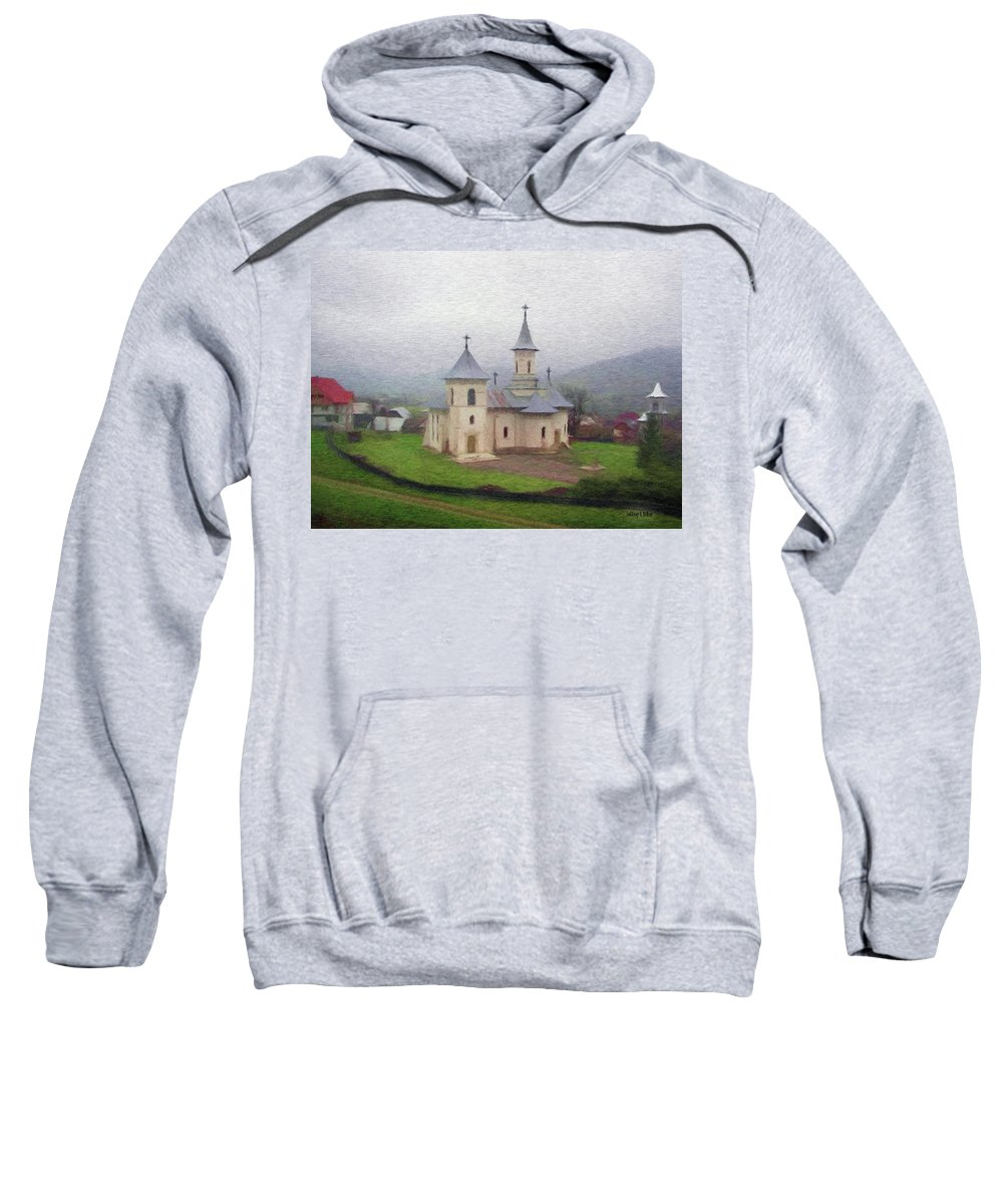 Chapel Sweatshirt featuring the painting Church In The Mist by Jeffrey Kolker