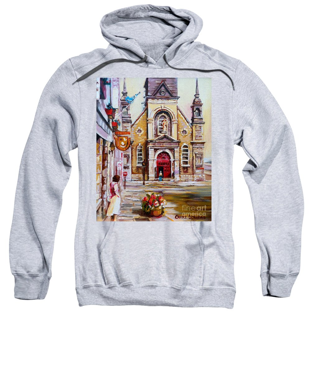 Montreal Churches Sweatshirt featuring the painting Church On Sunday by Carole Spandau