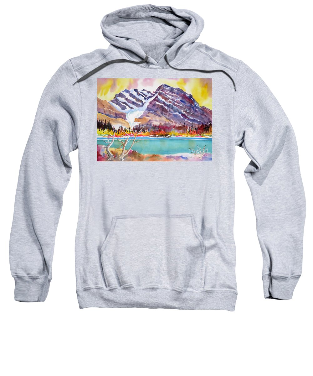 Hirjiart.com Sweatshirt featuring the painting Cirrus Mountain by Mohamed Hirji