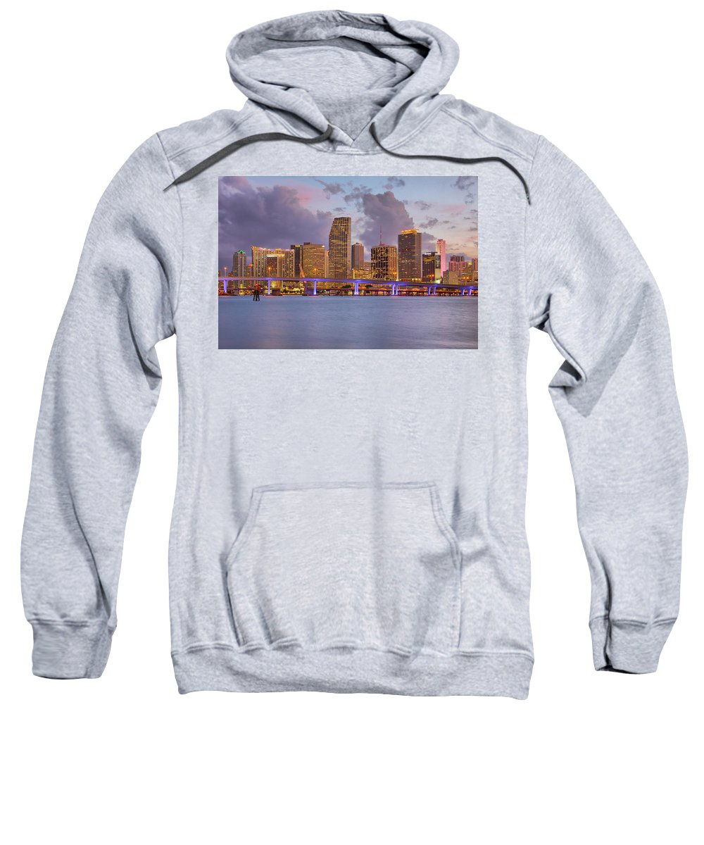 United States Sweatshirt featuring the photograph City Lights by Claudia Domenig