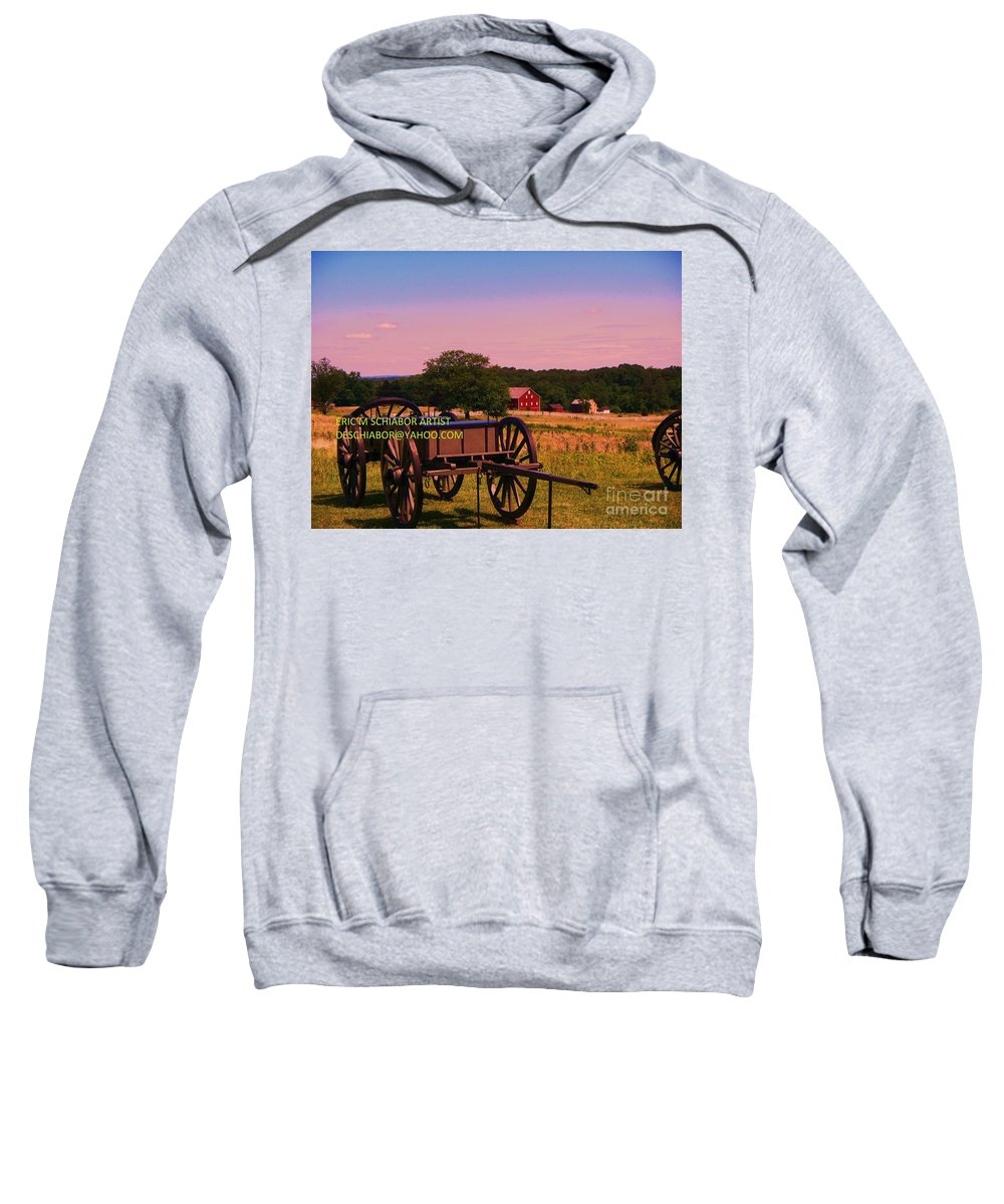 Civil War Sweatshirt featuring the photograph Civil War Caisson At Gettysburg by Eric Schiabor