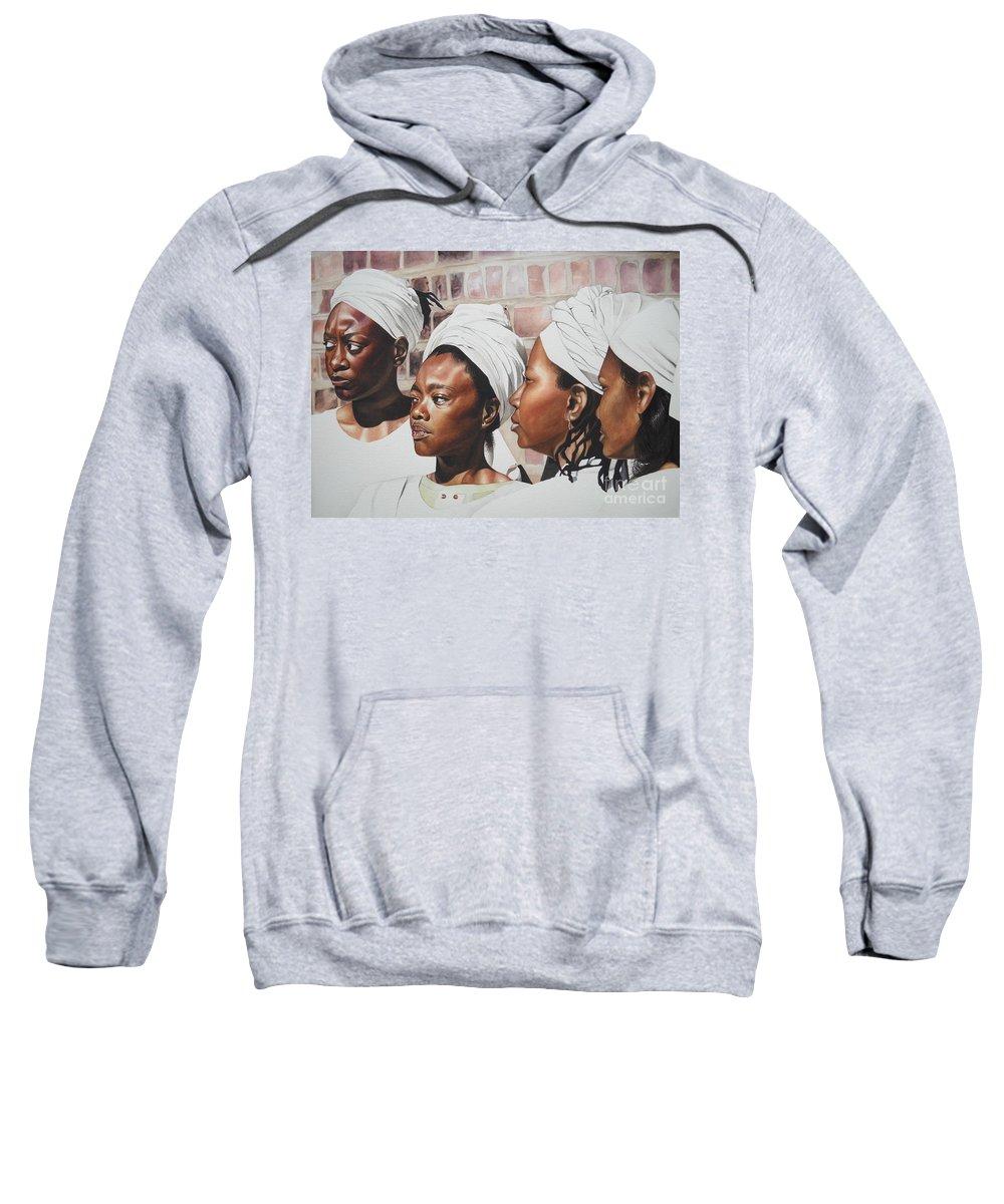 African American Art Sweatshirt featuring the painting Civil War Nurse by Sonya Walker