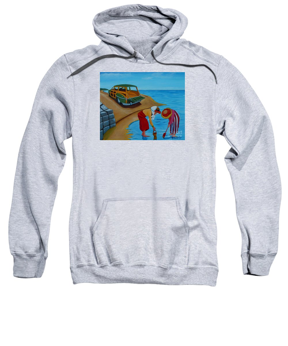 Clams Sweatshirt featuring the painting Clam Digging by Anthony Dunphy