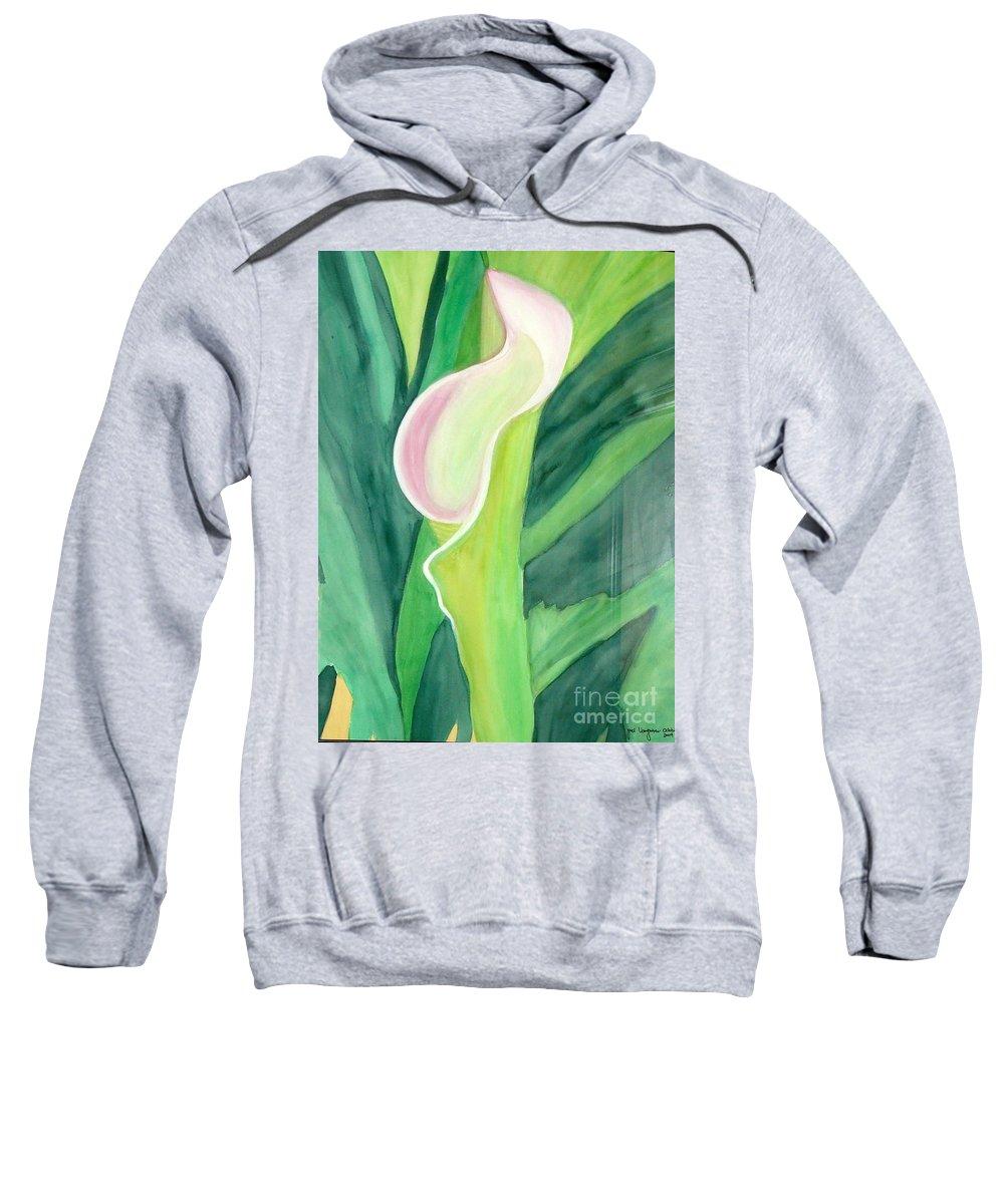 White Flower Sweatshirt featuring the painting Classic Flower by Yael VanGruber