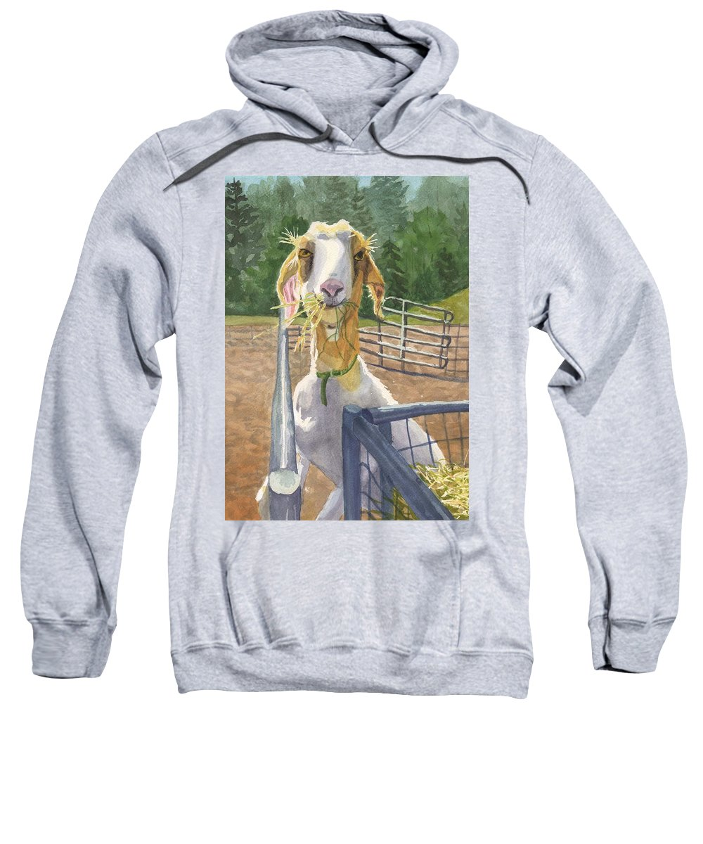 Goat Sweatshirt featuring the painting Claudette's Snack by Sharon E Allen
