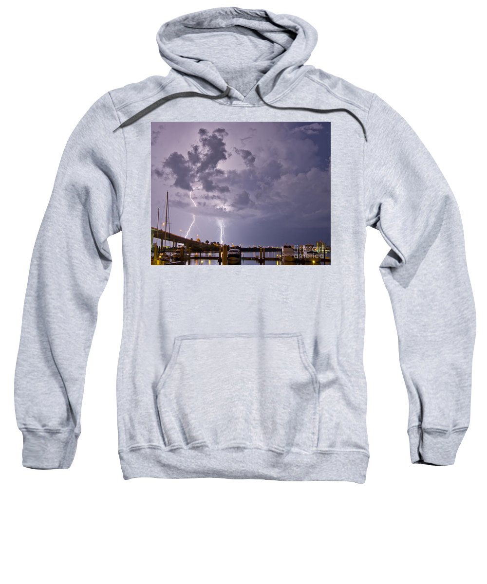 Lightning Sweatshirt featuring the photograph Clearater Memorial Bridge by Stephen Whalen