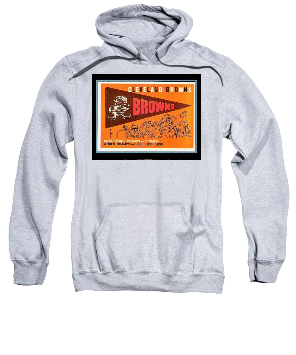 Cleveland Browns Sweatshirt featuring the painting Cleveland Browns 1959 Retro Print by Paul Van Scott