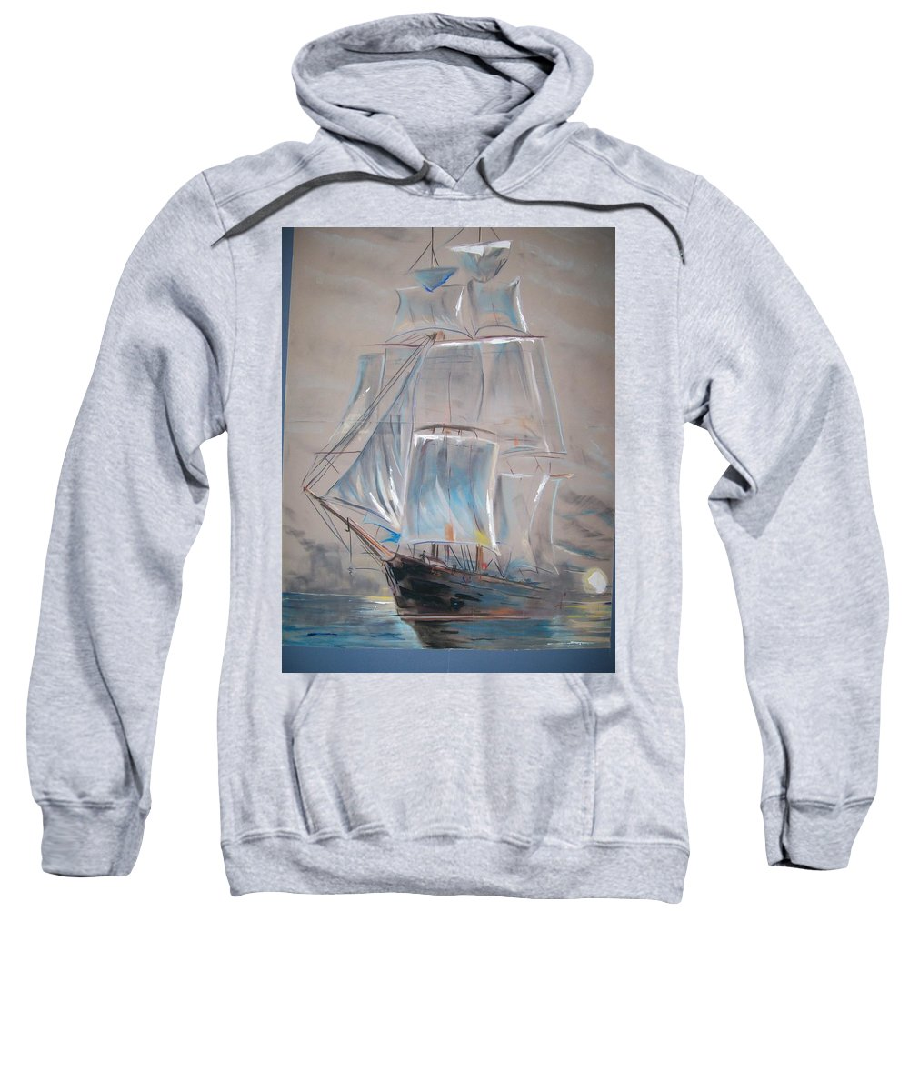 Seascape Sweatshirt featuring the mixed media Clipper In Mist by Peter Suhocke