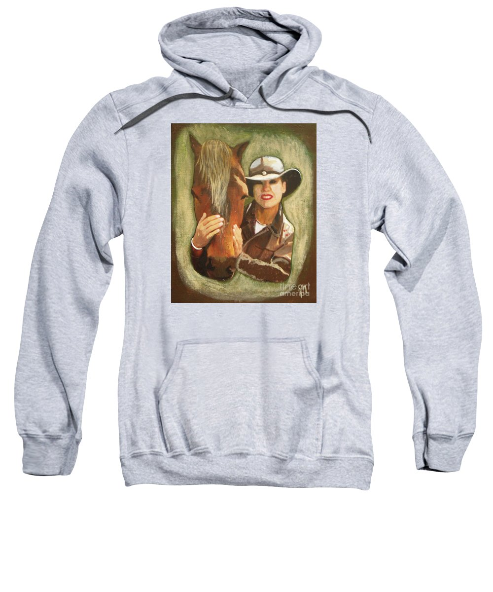 Horse Sweatshirt featuring the painting Close Friend by Vesna Antic