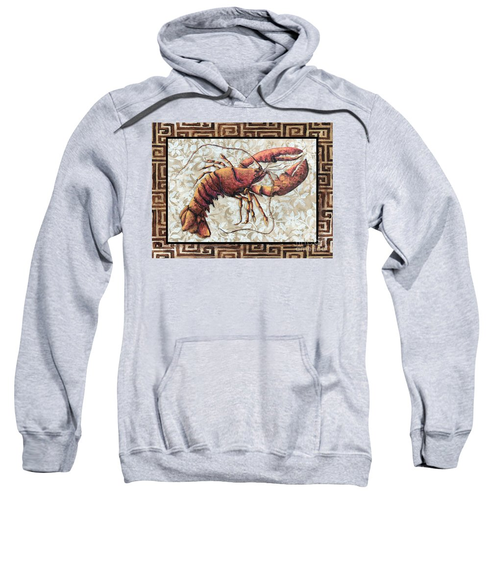 Coastal Sweatshirt featuring the painting Coastal Lobster Decorative Painting Greek Border Design By Madart Studios by Megan Duncanson