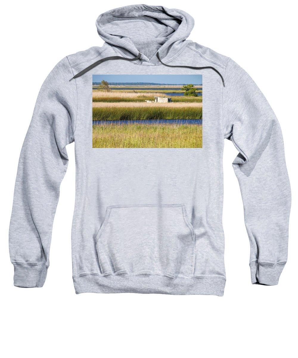 Coastal Landscape Sweatshirt featuring the photograph Coastal Marshlands With Old Fishing Boat by Bill Swindaman