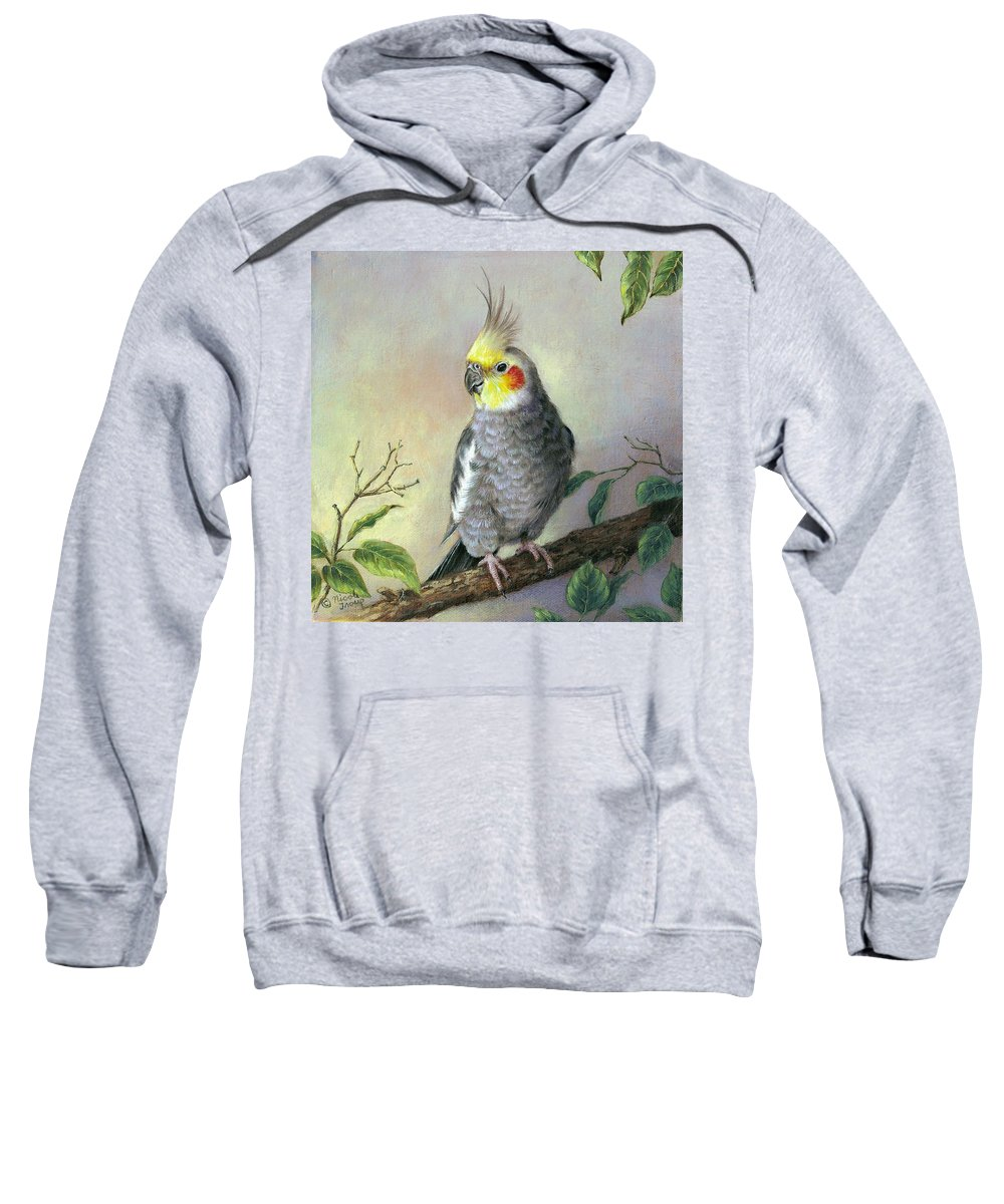Bird Sweatshirt featuring the painting Cockatiel by Nicole Troup