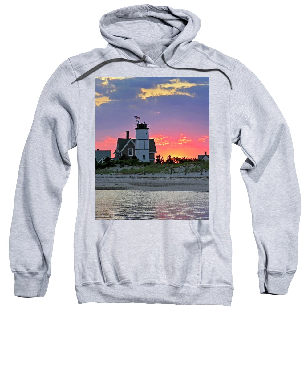 Cocktail Sweatshirt featuring the photograph Cocktail Hour At Sandy Neck Lighthouse by Charles Harden