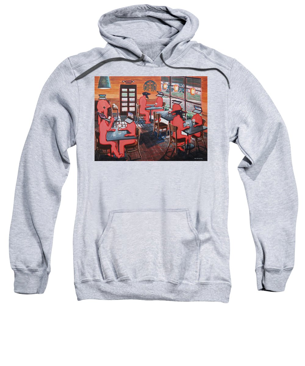 Starbucks Sweatshirt featuring the painting Coffee Shop Culture by Tommy Midyette