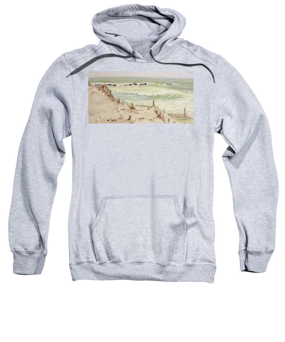 Seascape Sweatshirt featuring the painting Cold Day Rough Sea by Lea Novak