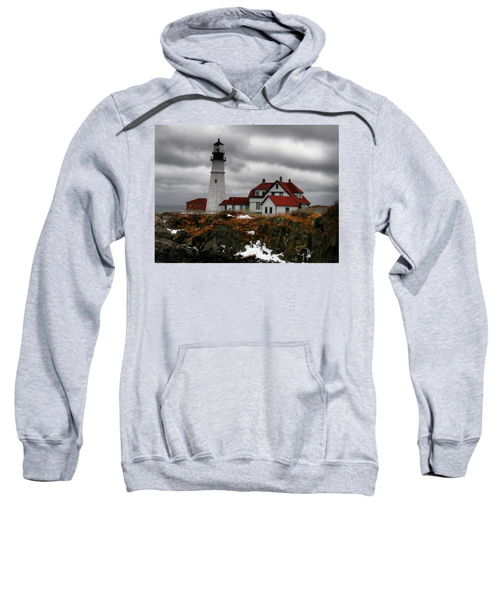 Lighthouse Sweatshirt featuring the photograph Cold Winters Day-hdr by Nancie DeMellia