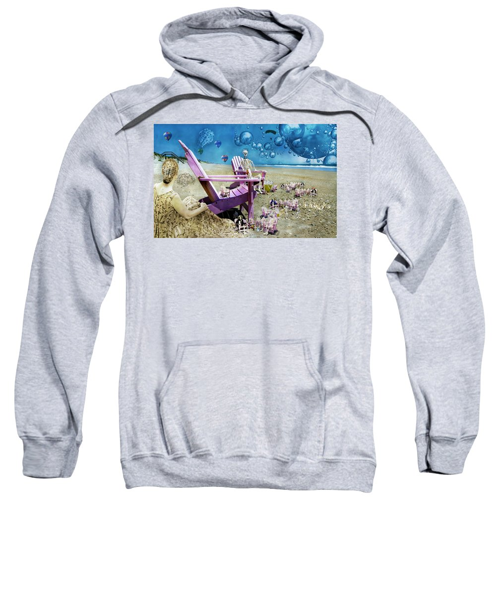Skeleton Sweatshirt featuring the mixed media Collective Souls by Betsy Knapp