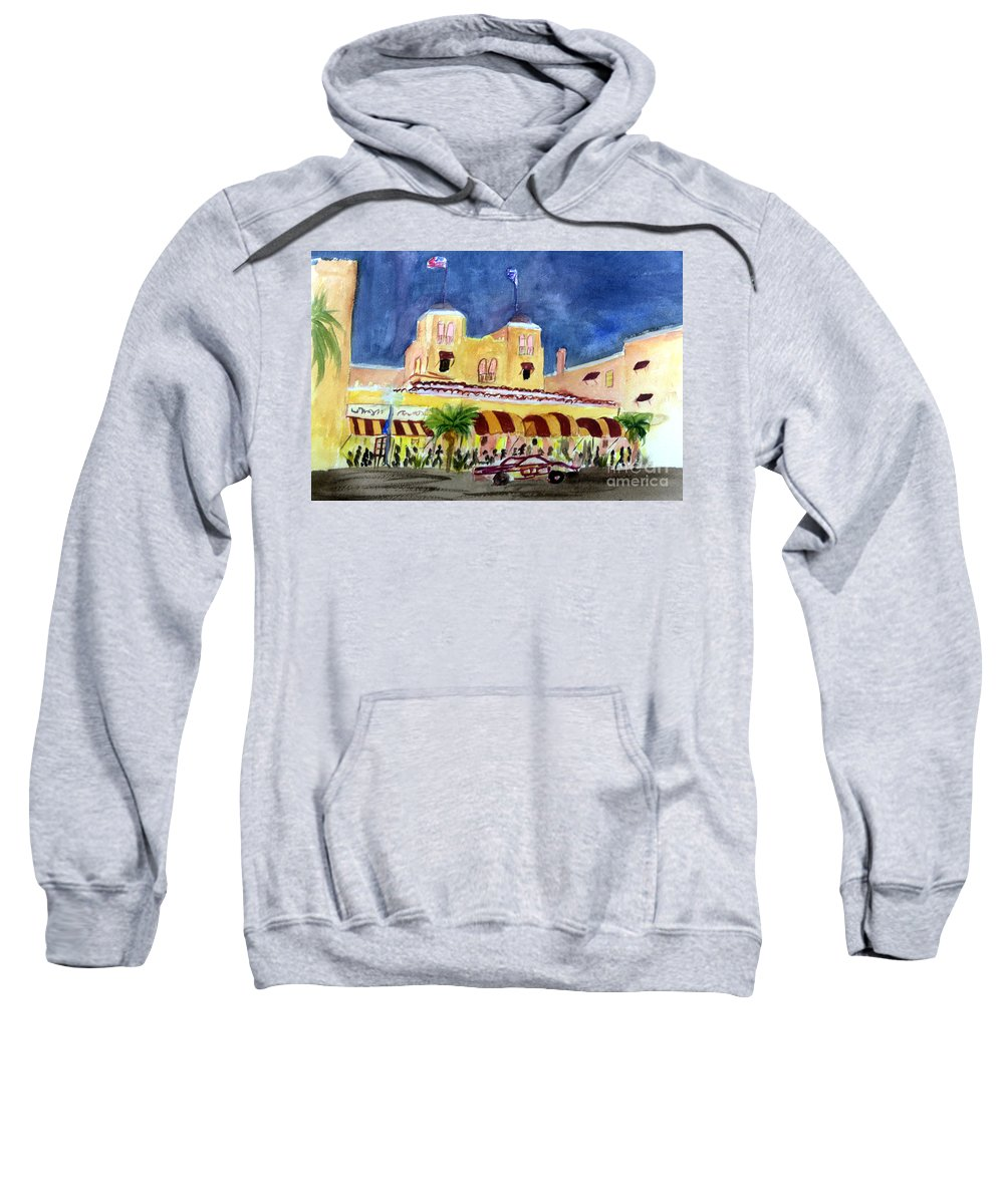 Architecture Sweatshirt featuring the painting Colony Hotel In Delray Beach by Donna Walsh