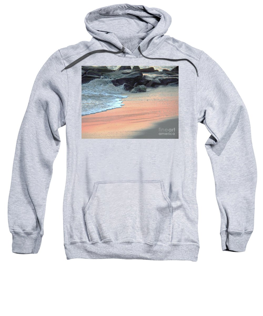 Color Sweatshirt featuring the painting Color Of Sand Cape May Nj by Eric Schiabor