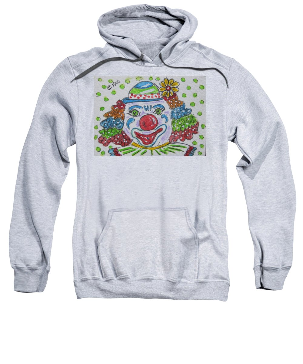 Colorful Sweatshirt featuring the painting Colorful Clown by Kathy Marrs Chandler