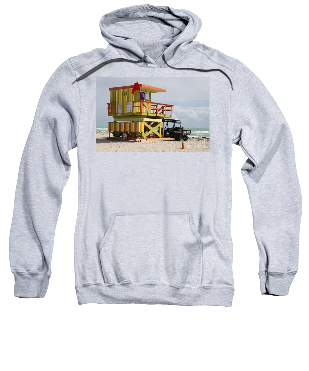 Ocean Rescue Sweatshirt featuring the photograph Colorful Ocean Rescue Miami by Christiane Schulze Art And Photography