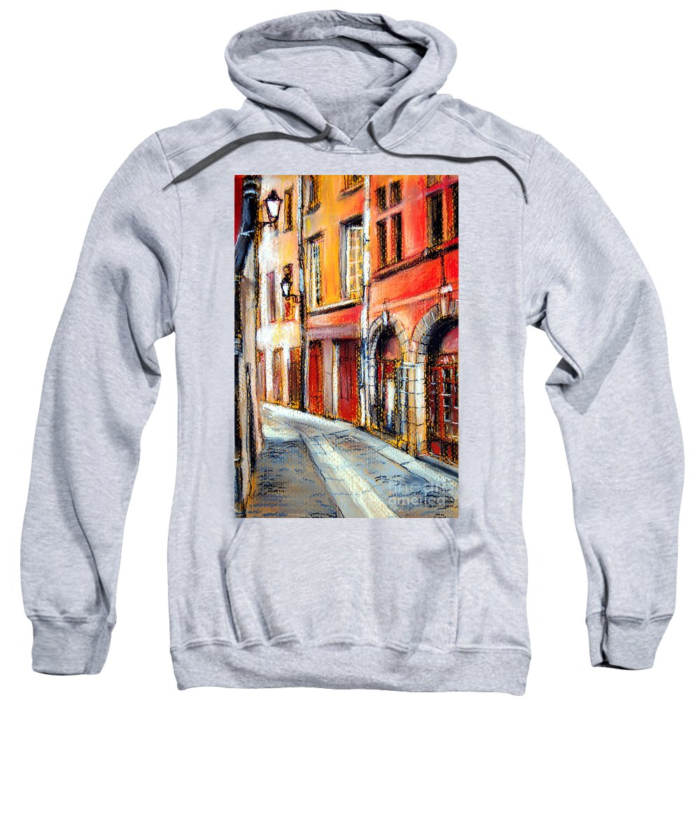 Colors Of Lyon Sweatshirt featuring the pastel Colors Of Lyon 3 by Mona Edulesco