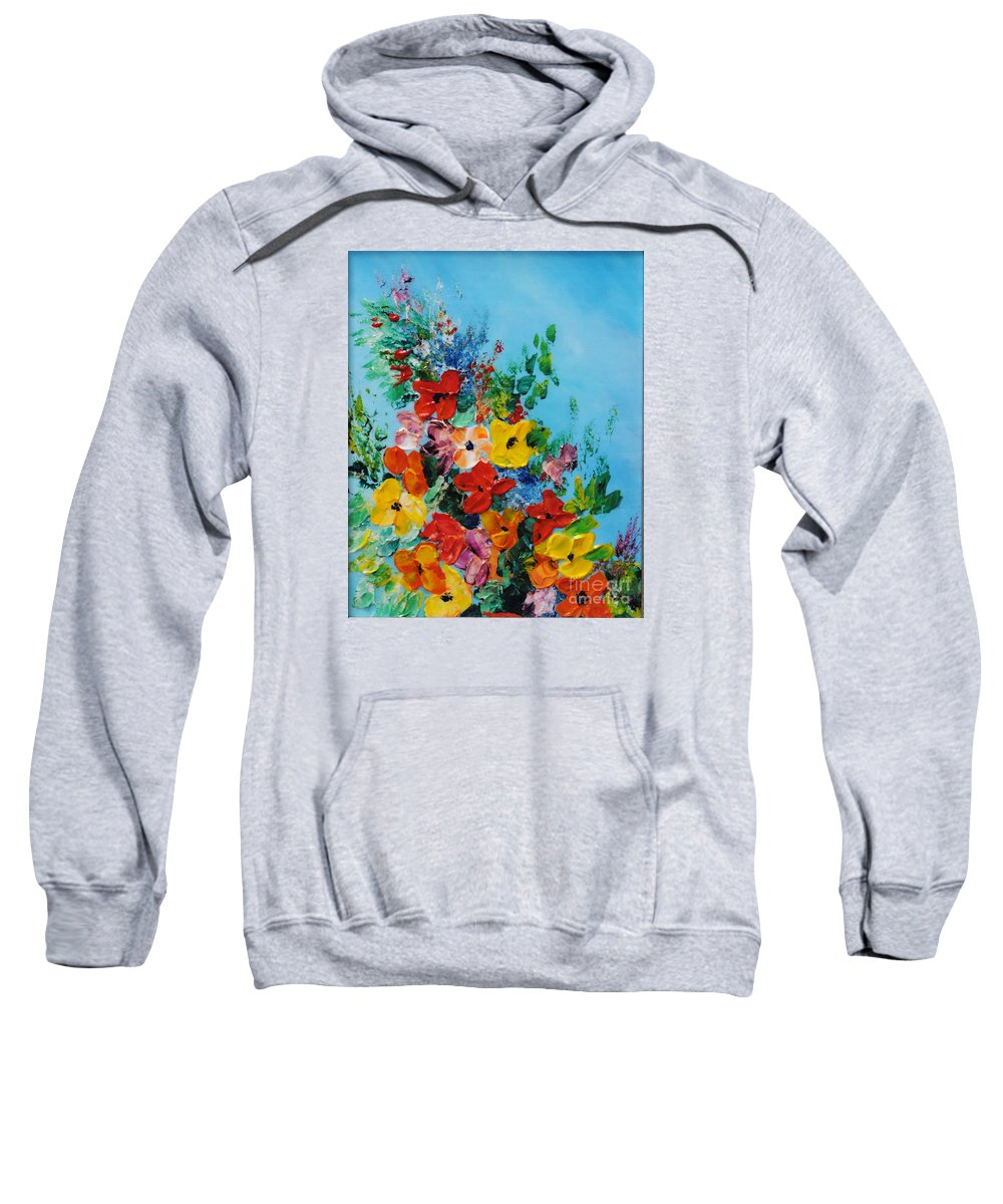 Colorful.red Sweatshirt featuring the painting Colour Of Spring by Teresa Wegrzyn