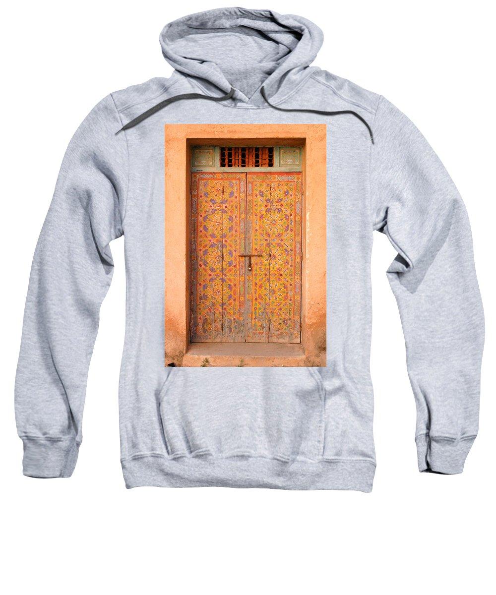 Door Sweatshirt featuring the photograph Colourful Entrance Door Sale Rabat Morocco by Ralph A Ledergerber-Photography