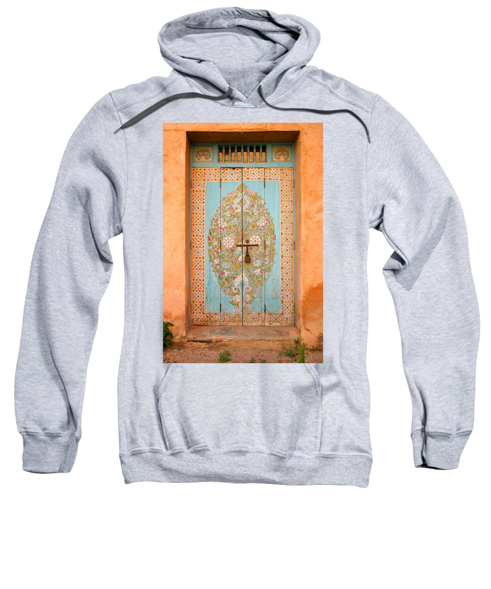 Door Sweatshirt featuring the photograph Colourful Moroccan Entrance Door Sale Rabat Morocco by Ralph A Ledergerber-Photography