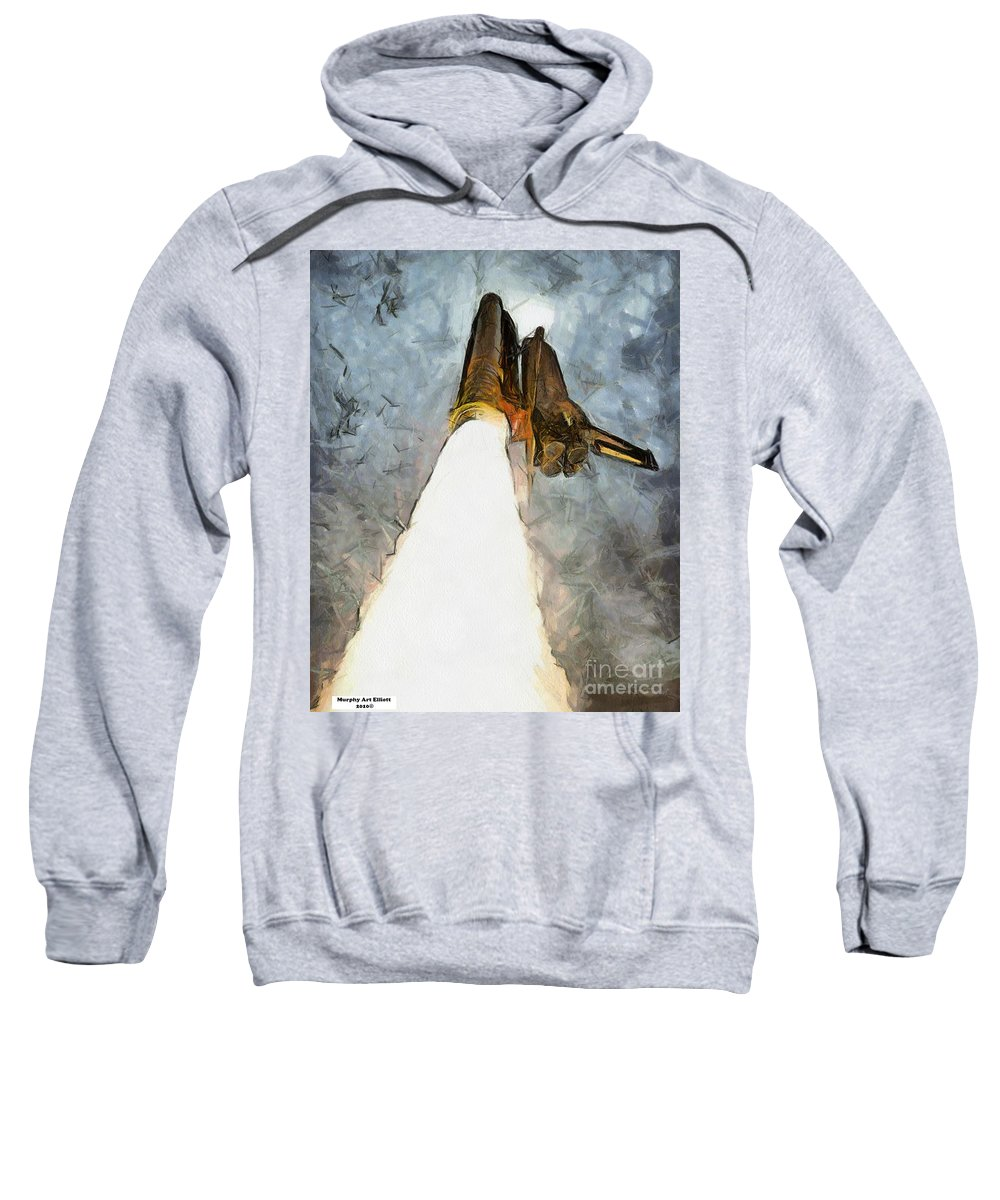 Nasa Sweatshirt featuring the painting Columbia Final Voyage by Murphy Elliott