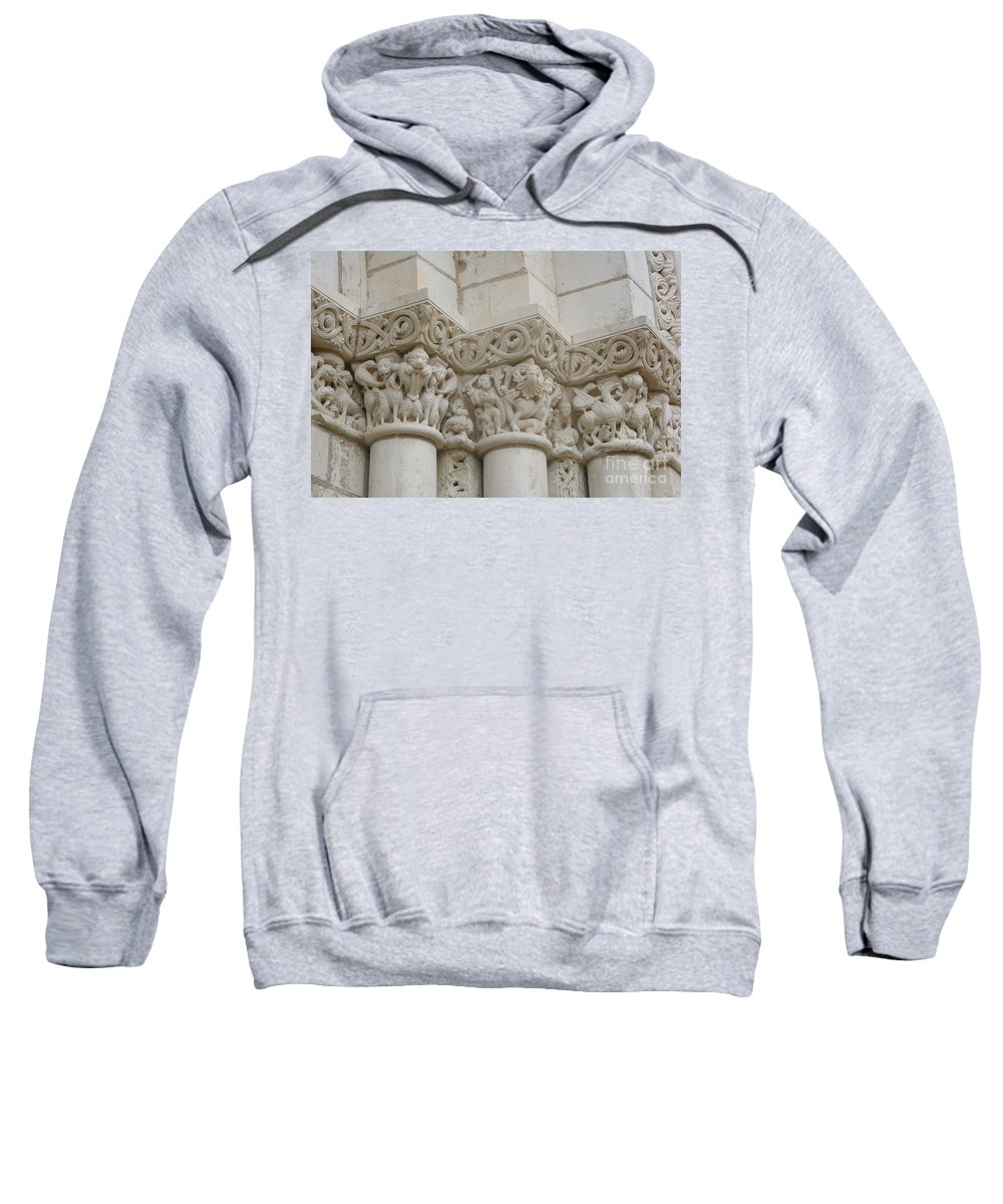 Frieze Sweatshirt featuring the photograph Column Relief Abbey Fontevraud by Christiane Schulze Art And Photography