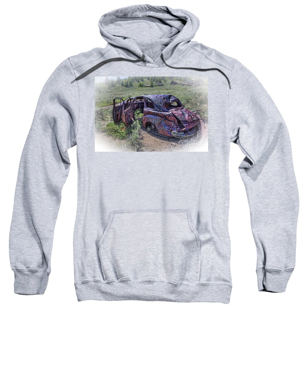 Montana Sweatshirt featuring the photograph Comet Mine Jalopy - Montana by Daniel Hagerman