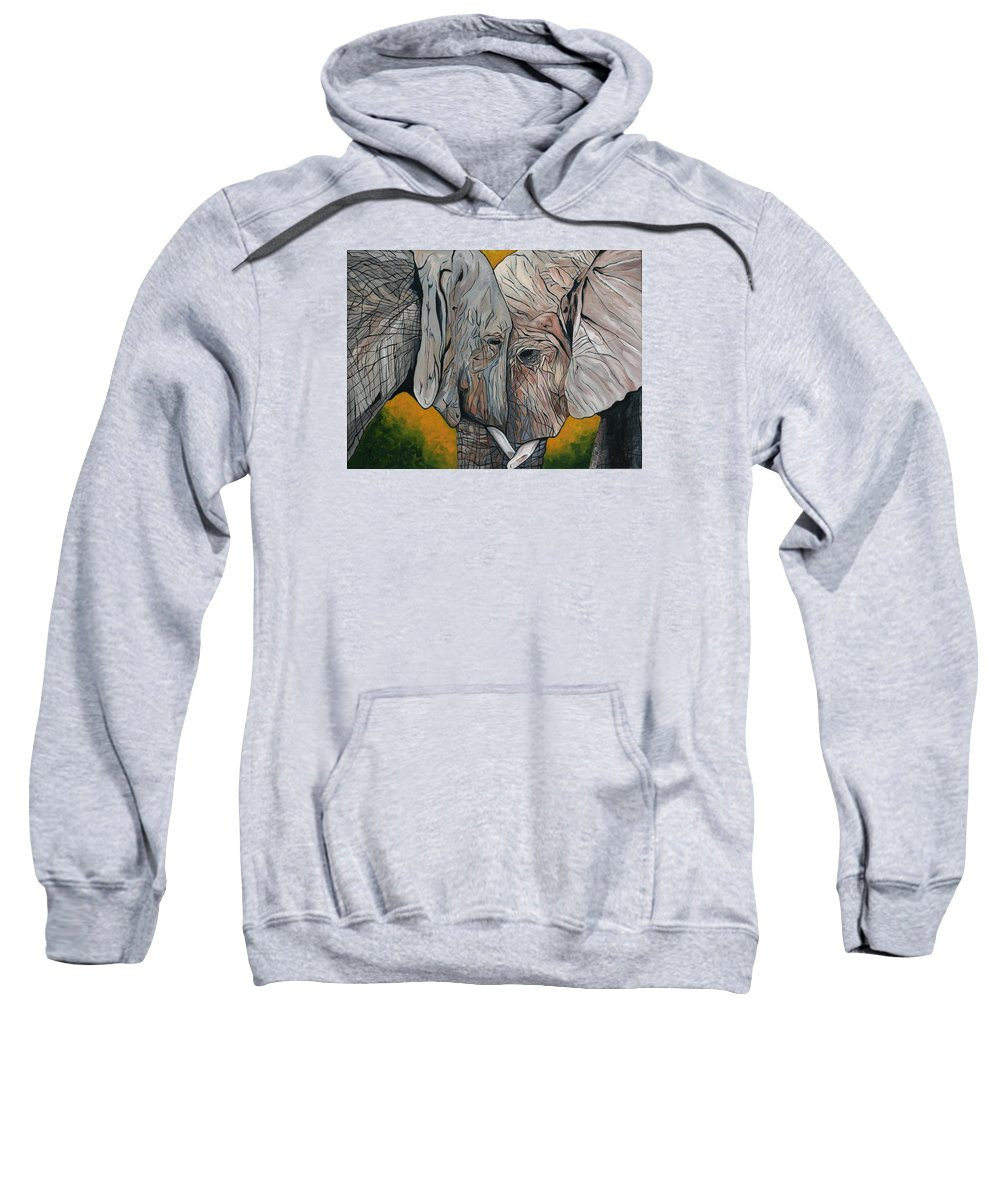 Elephant Sweatshirt featuring the painting Comfort by Aimee Vance