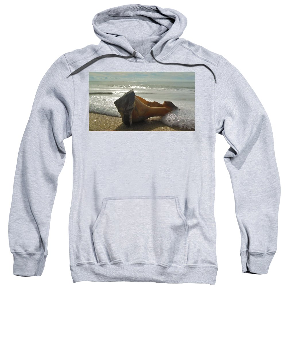 Mark Lemmon Cape Hatteras Nc The Outer Banks Photographer Subjects From Sunrise Sweatshirt featuring the photograph Conch Shell The Point 1 12/5 by Mark Lemmon