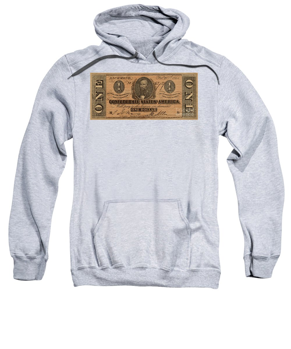 Confederate Sweatshirt featuring the photograph Confederate Dollar Bill by Paul W Faust - Impressions of Light