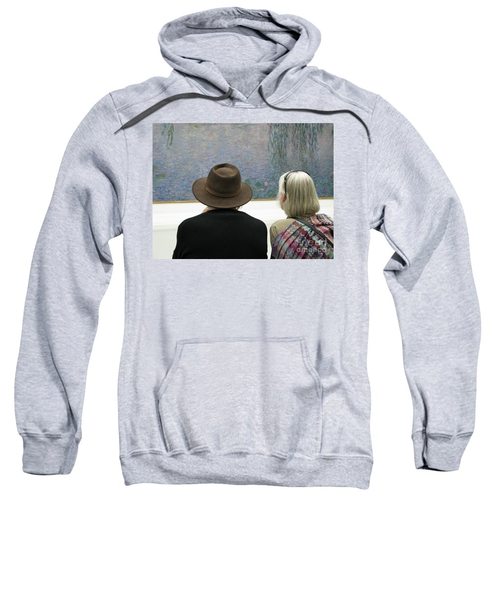 People Sweatshirt featuring the photograph Contemplating Art by Ann Horn