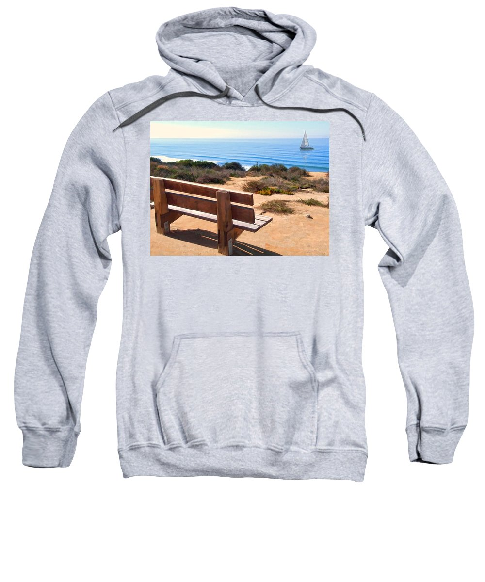 Ocean Sweatshirt featuring the painting Contemplation Bench At The Oceans Edge by Elaine Plesser