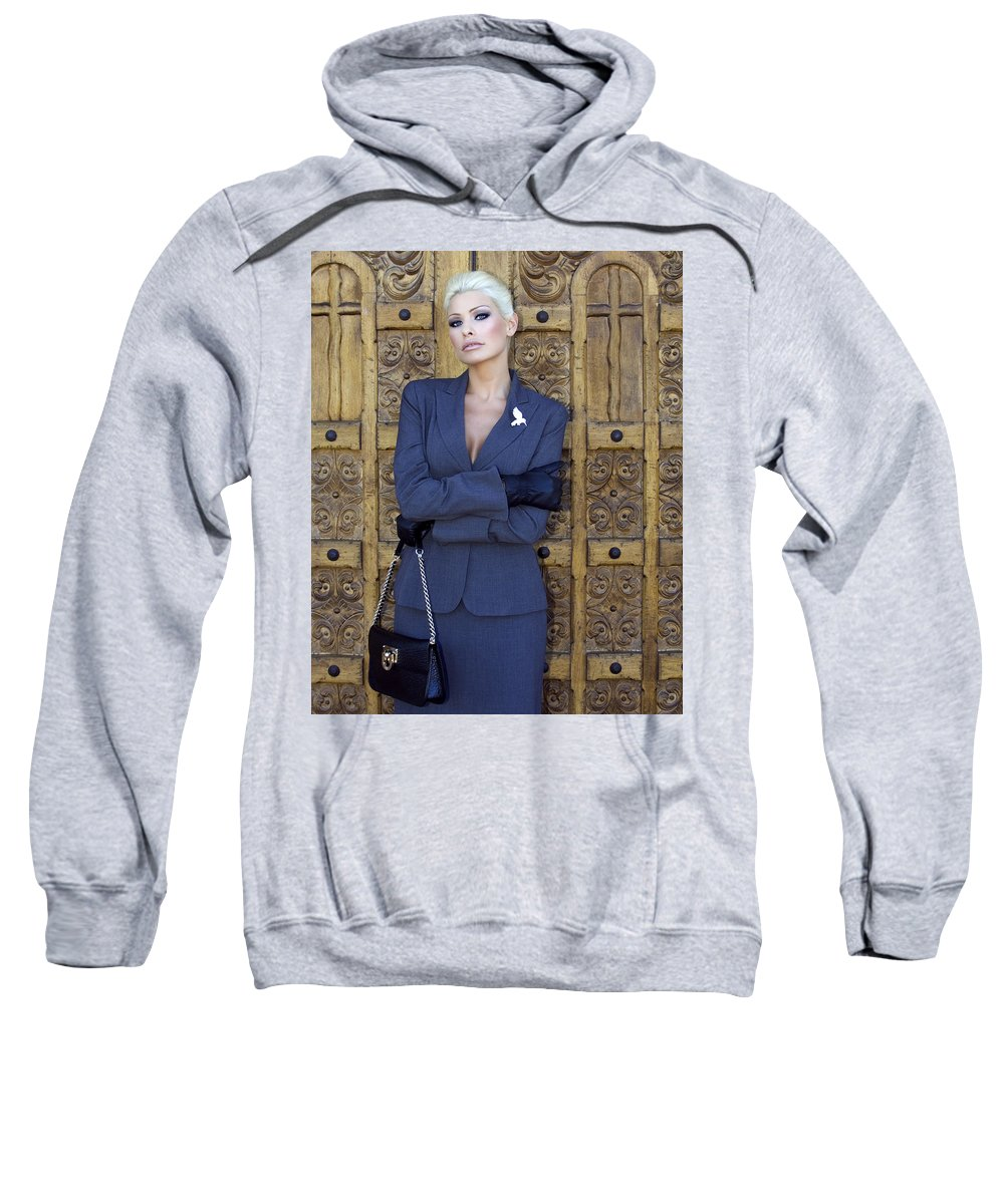 Female Sweatshirt featuring the photograph Cool Blonde Palm Springs by William Dey
