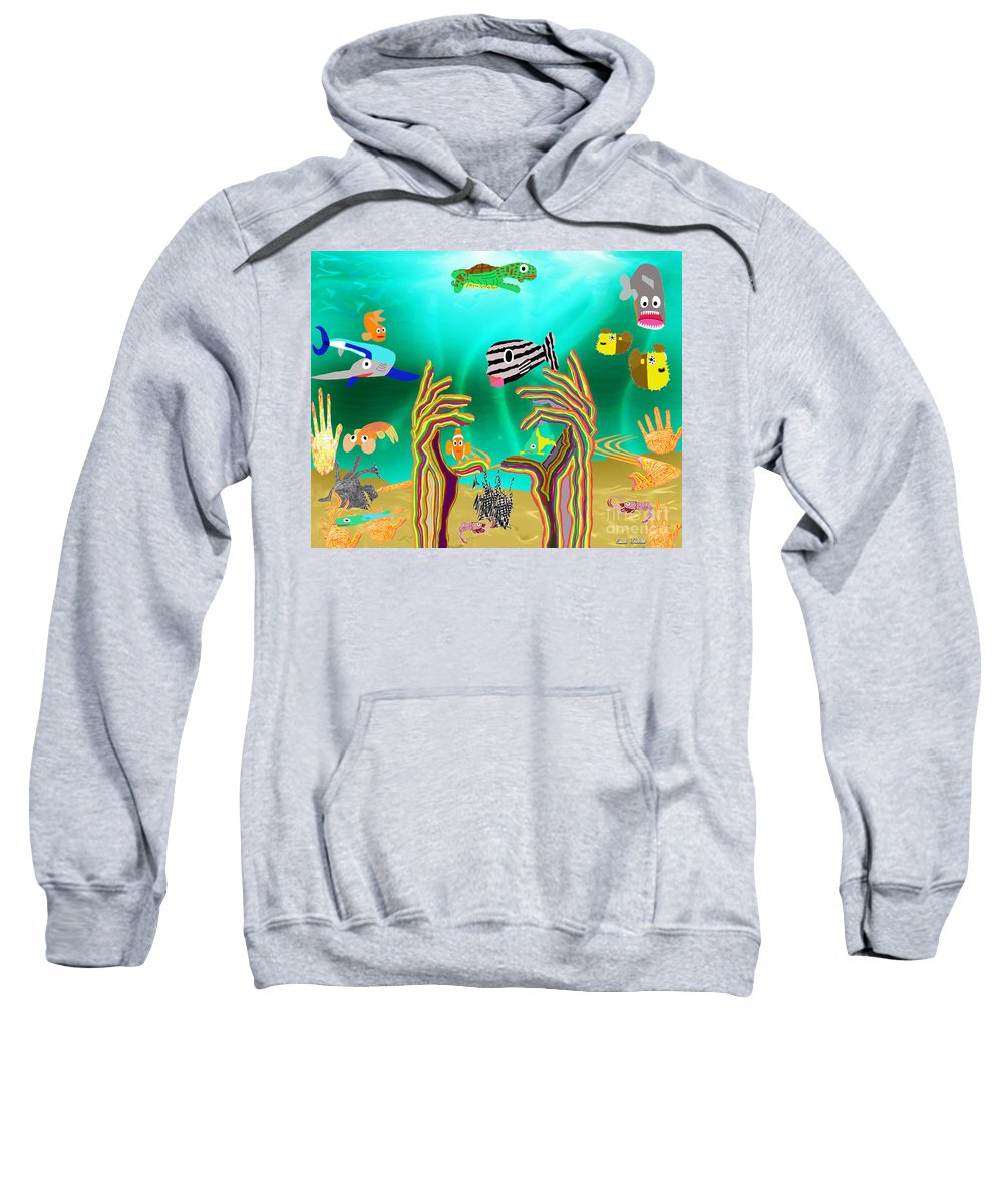 Fish Sweatshirt featuring the mixed media Coral Hands by Paul Fields