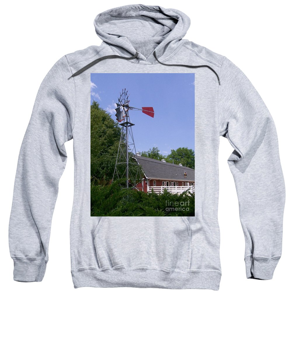 Cosley Zoo Sweatshirt featuring the photograph Cosley Zoo Windmill And Barn by Laurie Eve Loftin
