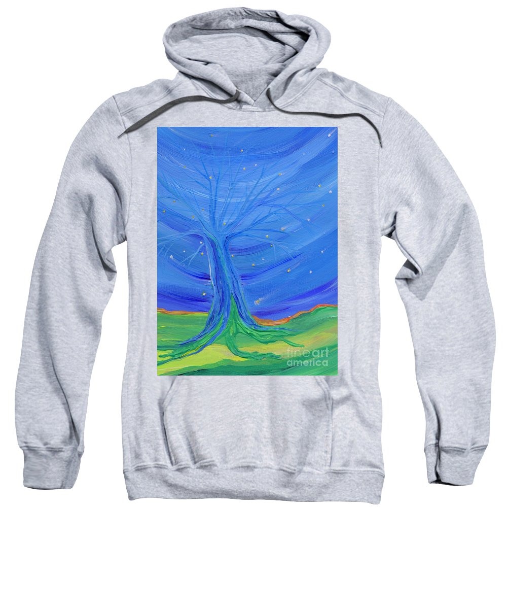 Tree Sweatshirt featuring the painting Cosmic Tree by First Star Art