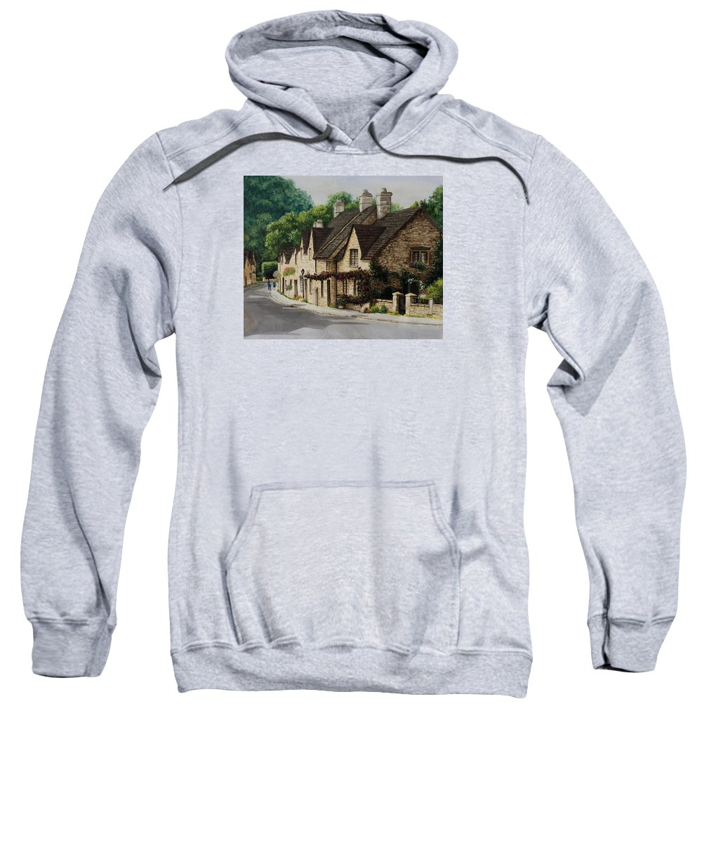 Architecture Sweatshirt featuring the painting Cotswold Street by Mary Palmer