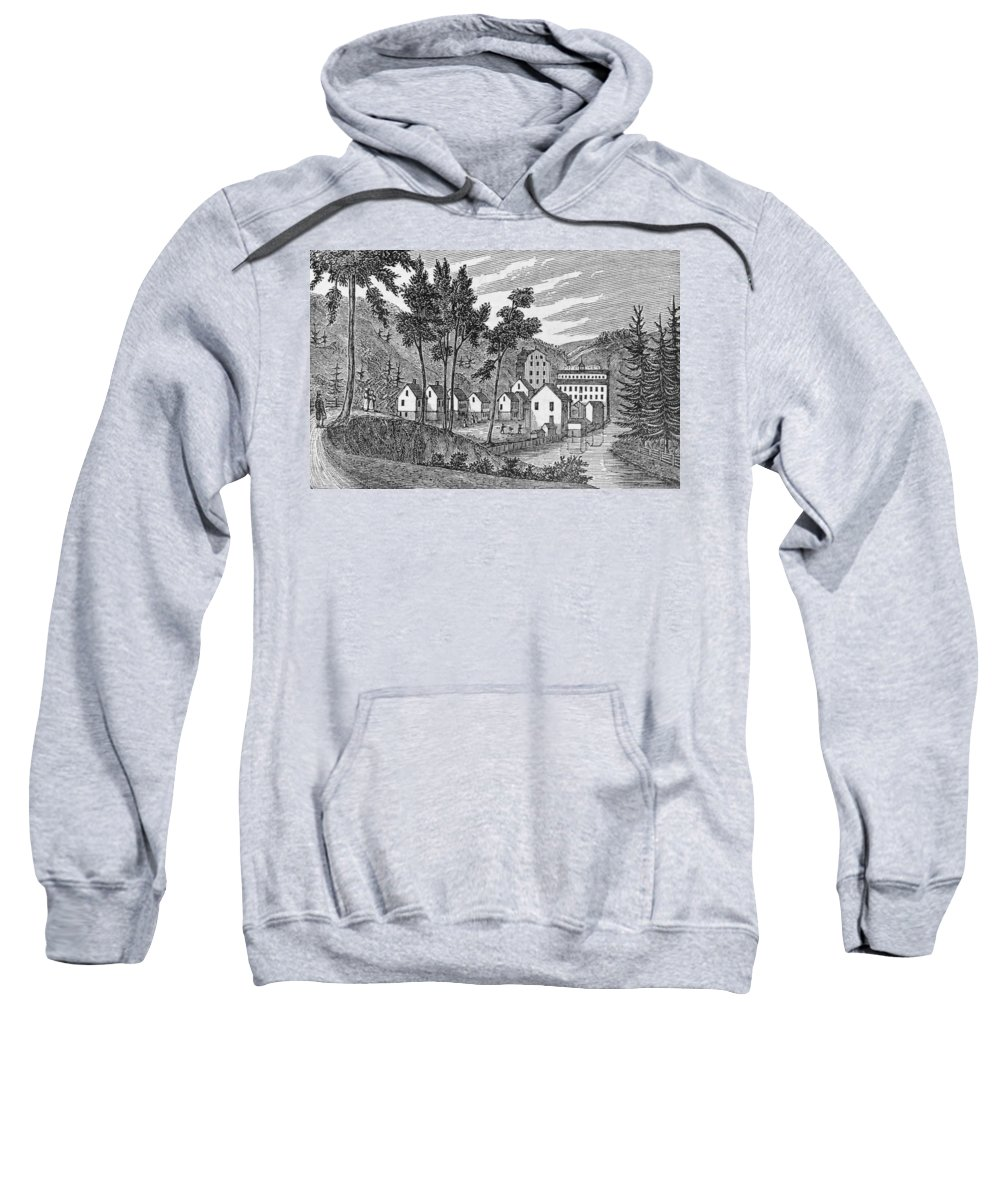 River Sweatshirt featuring the photograph Cotton Factory Village, Glastenbury, From Connecticut Historical Collections, By John Warner by American School