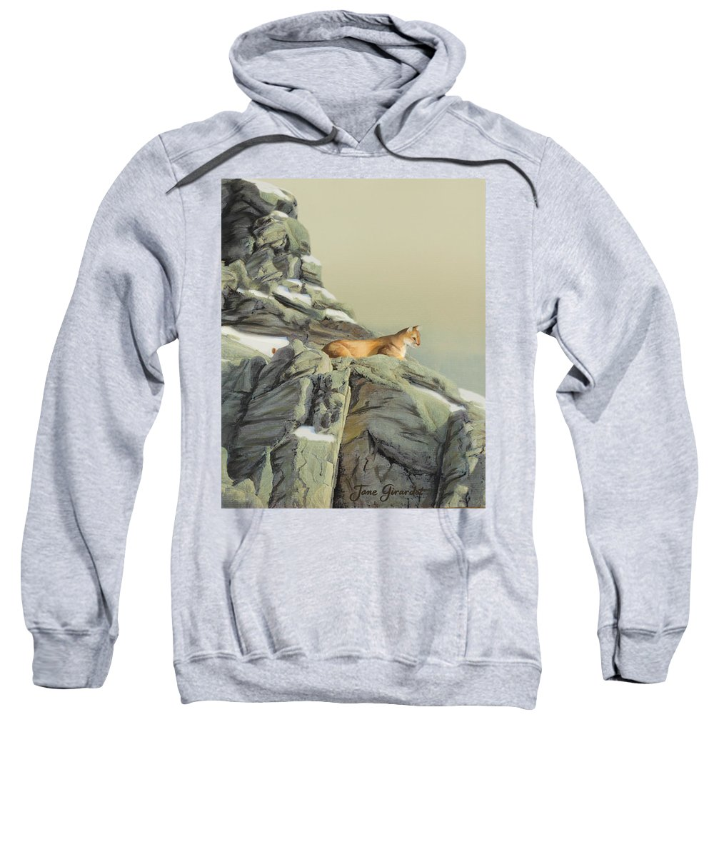 Cougar Sweatshirt featuring the painting Cougar Perch by Jane Girardot