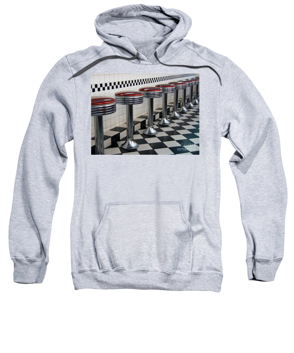Soda Fountain Sweatshirt featuring the photograph Counter Seats by Alan Thwaites