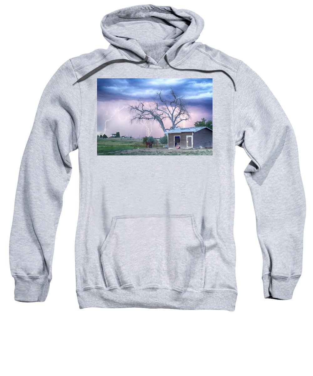 Country Sweatshirt featuring the photograph Country Horses Riders On The Storm by James BO Insogna