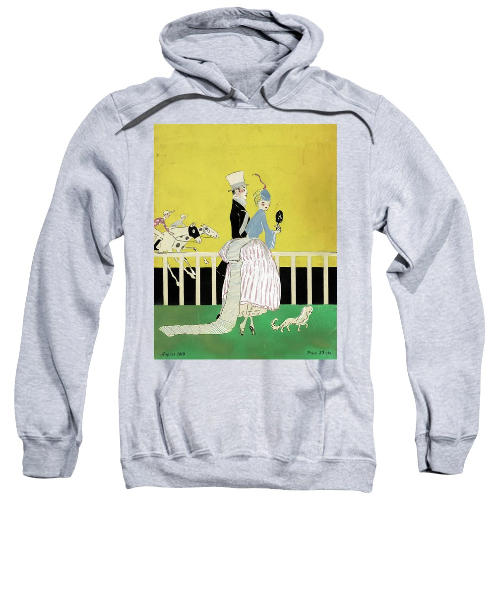 1916 Sweatshirt featuring the drawing Couple At The Races, 1916 by Granger