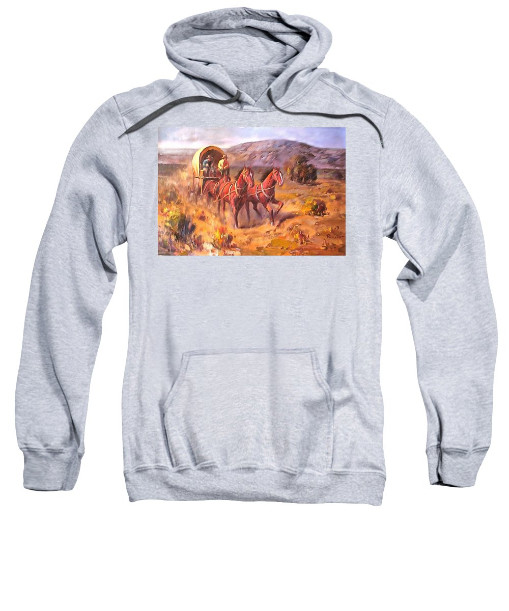 Studio Artist Sweatshirt featuring the painting Covered Wagon by Parsons