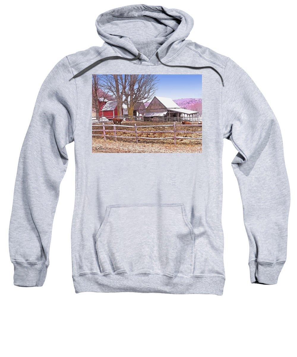 Jenne Farm Sweatshirt featuring the digital art Cows At Jenne Farm by Nancy Griswold
