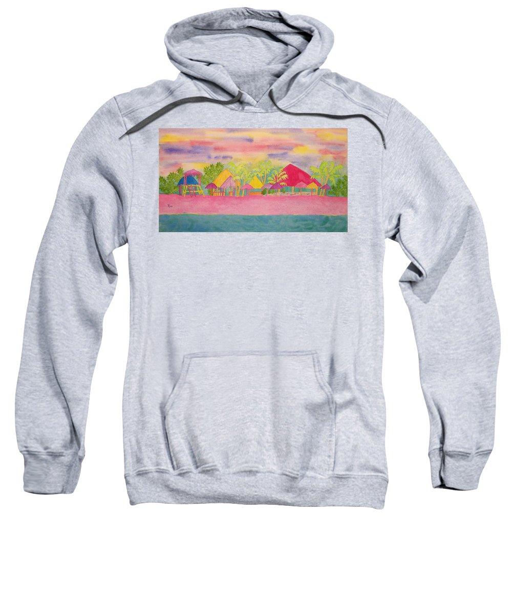 Cozumel Sweatshirt featuring the painting Cozumel Kaleidoscope by Rhonda Leonard